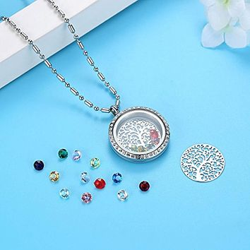 Family Tree of Life Pendant Necklace with Rhinestone Charms