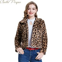 Leopard Turn Down Collar Faux Fur Single Breasted Jacket.