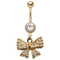 Sparkling Gold Bow Belly Button Ring By 7z ACC