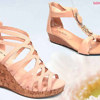 Women's Fashion Blush Low High Wedge Heel Platform Sandal Shoes NEW Size 5 - 10