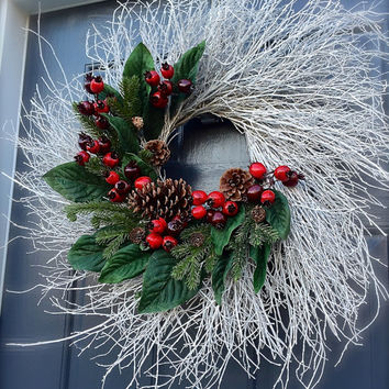 White Christmas Door Wreaths Berry Wreaths Holiday White Twig Wreath Red Berries