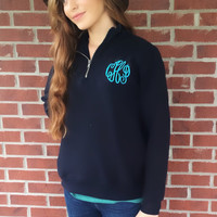 Monogrammed 1/4 Zip Pullover, Monogram Quarter Zip Sweatshirt, Bridesmaid Gift, Monogram Sorority Gift, Honeymoon Sweatshirt, Team Pullover