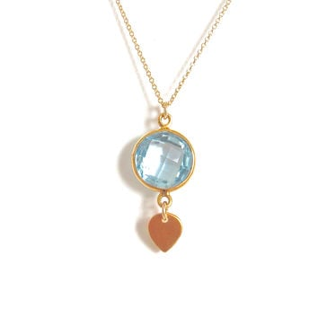 Blue Quartz Gold Pendant Necklace