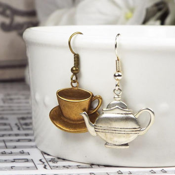 Teapot and Teacup Mismatched Earrings in Silver Plated or Antiqued Brass