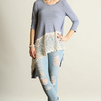 Romantic Denim Blue Swing Top with Lace Detailing