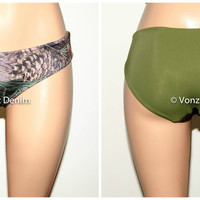 Olive and Pine Camo Bikini Bottom, Full Coverage Bikini Bottoms, Fully Lined Spandex Swim Suit Bottom
