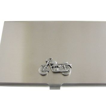 Silver Toned Textured Classic Motorcycle Business Card Holder