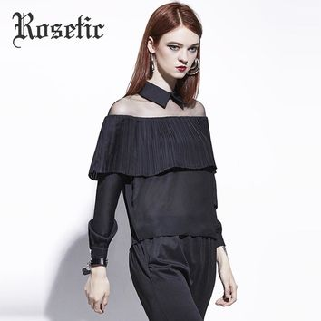 Gothic Blouse Women Black Autumn Hollow Chiffon Casual Top Ruffles Square Collar Fashion Goth Female Blouse Winter
