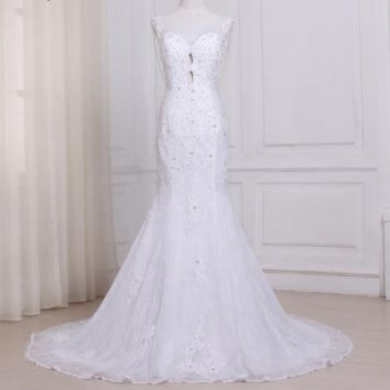 Sexy Mermaid Wedding Dresses Lace Sweep Train Beaded Applique Bridal Gowns with Pearls Back