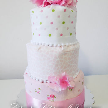 NEW Diaper Cake, Fondant Style, Diaper Cake, Baby Cake, Hydrangea, Pearls, Shower Gift for Girl, Blankets, Centerpiece