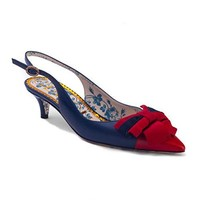 Gucci Women's Leather Sling-Back Pump Web Bow Shoes Blue