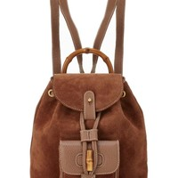 Brown Suede Bamboo Backpack Small