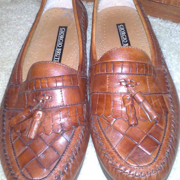 Vintage 1980s Men's GIORGIO BRUTINI Brown Woven Leather Tassel Slip-on Loafers - Size 9W