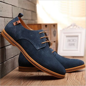 Men's Plus size Loafers Lace Up Cow Leather Casual Flats Shoes