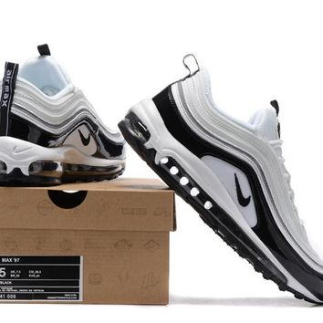 """Nike Air Max 97"" Men Sport Casual Fashion Multicolor Stitching Patent Leather Air Cushion Running Shoes Sneakers"
