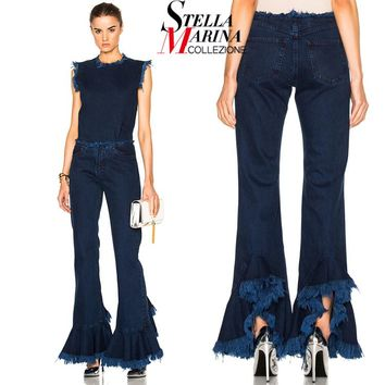 2017 European Style Women Navy Blue Denim Pants Bell Bottoms Ripped Fringes Elastic Waist Flare Long Trumpet Jeans Pants 2014