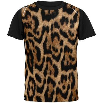 CREYCY8 Halloween Leopard Print Costume All Over Mens Black Back T Shirt