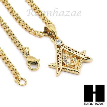 "STAINLESS STEEL ICED OUT FREEMASON MASONIC PENDANT 24"" CUBAN NECKLACE SET NP003"