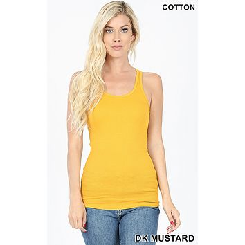 Mustard Essential Stretchy Ribbed Racerback Tank