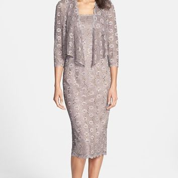 Women's Alex Evenings Embellished Lace Pencil Dress & Jacket