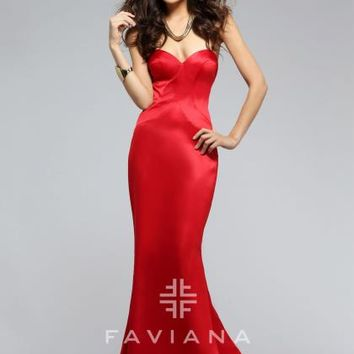 Faviana Fit and Flare Satin Dress 7753
