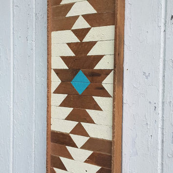 "Wood Wall Art, Wood Wall Decor, Lath Art, Rectangle, Central Diamond,  Reclaimed Wood, Home Decor,  9.75"" X 25"""
