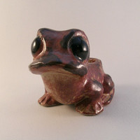 Mod Stoneware Red-Brown Frog Planter / Sponge Holder