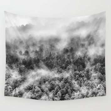 """Mountain light III BW"". Foggy forest. Wall Tapestry by Guido Montañés"