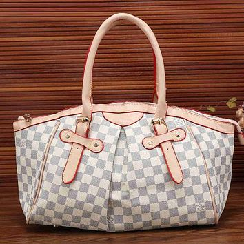 Perfect Louis Vuitton Women Leather Zipper Satchel Tote Travel Bag Handbag