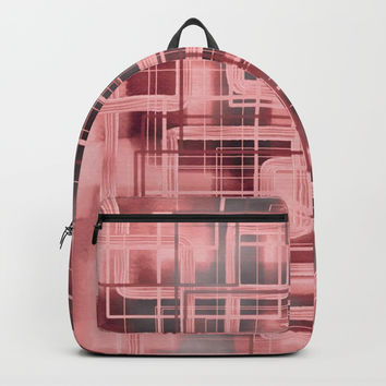 Negative Film Red Pink Pattern Abstract Backpack by Sheila Wenzel