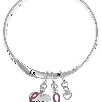Breast cancer pink ribbon strength hope victory inspirational verse twist mobius charm bangle bracelet