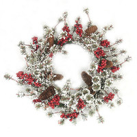 """24"""" Snow Frosted Pine Cone And Red Berries Artificial Christmas Wreath"""