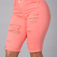 Caribbean Vacation Shorts - Peach