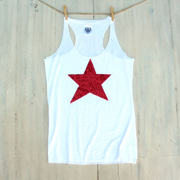 Sequin Star -  4th of July - Red White or Blue Sequin Tank