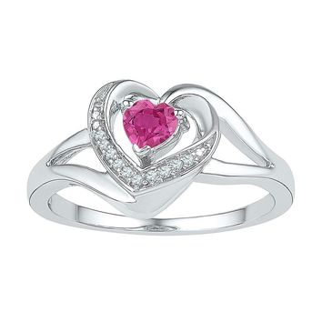 Sterling Silver Women's Round Lab-Created Pink Sapphire Diamond Heart Ring 3/8 Cttw - FREE Shipping (US/CAN)