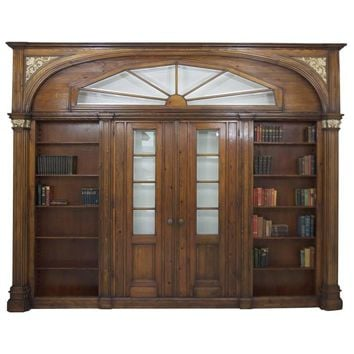 Large Antique Architectural Pass-Through with Bookcases Flanking Two Entry Doors