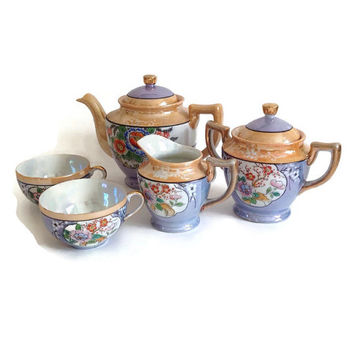 Antique Lustreware Tea Set-1920-1930's-Japan-Handpainted-Porcelain-Teapot-Sugar-Creamer-Flowers on Iridescent Lavendar