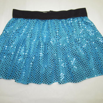 Turqouise Misses Tiered Sparkle Running Skirt