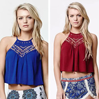 Fashion  Solid Color Hollow Lace Stitching Sleeveless Halter Vest Crop Tops