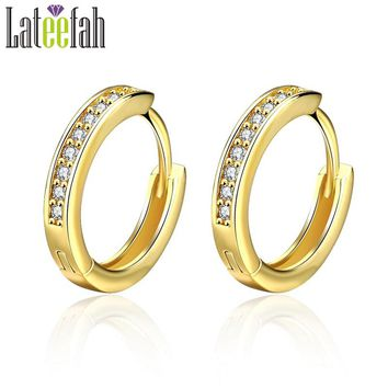 Lateefah Top Quality Gold Color Huggie Hoop Earrings for Women Half Pave Cubic Zirconia Rose Gold Female Ring Earring Oorbellen