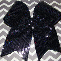 Navy Iridescent Flat Sequin Cheer Bow by isparklethat on Etsy