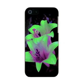 Neon Lilies Metallic Phone Case For iPhone SE/5/5s