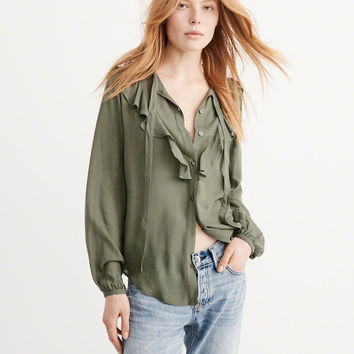 Womens Ruffle Tie-Front Blouse | Womens Tops | Abercrombie.com