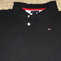Sale!! Vintage TOMMY HILFIGER black casual youth Polo Shirt size Large
