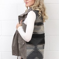 Aztec Knit Back Utility Vest {Charcoal}
