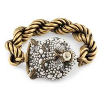 Gucci Feline head bracelet with crystals