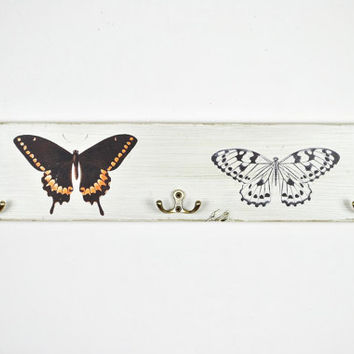 Distressed white entryway coat rack with metal hooks   coat hooks   entryway hooks   shabby cottage chic   entryway furniture   boho decor