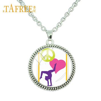 TAFREE Peace Love Gymnastics Necklace Glass Dome Cute Gymnastics Quotes Clip Art Neck Chain Necklace Statement Jewelry Gy060