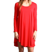 Red Piko Scoop Neck Dress