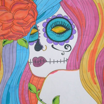 Rainbow Sugar Skull Girl 9x12 Prismacolor, Colorful Original Day of the Dead Artwork, Rainbow Hair, Alternative Dia De Los Muertos Gift Idea